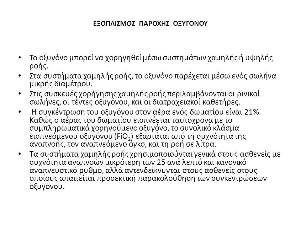 ΕΞΟΠΛΙΣΜΟΣ ΠΑΡΟΧΗΣ ΟΞΥΓΟΝΟΥ