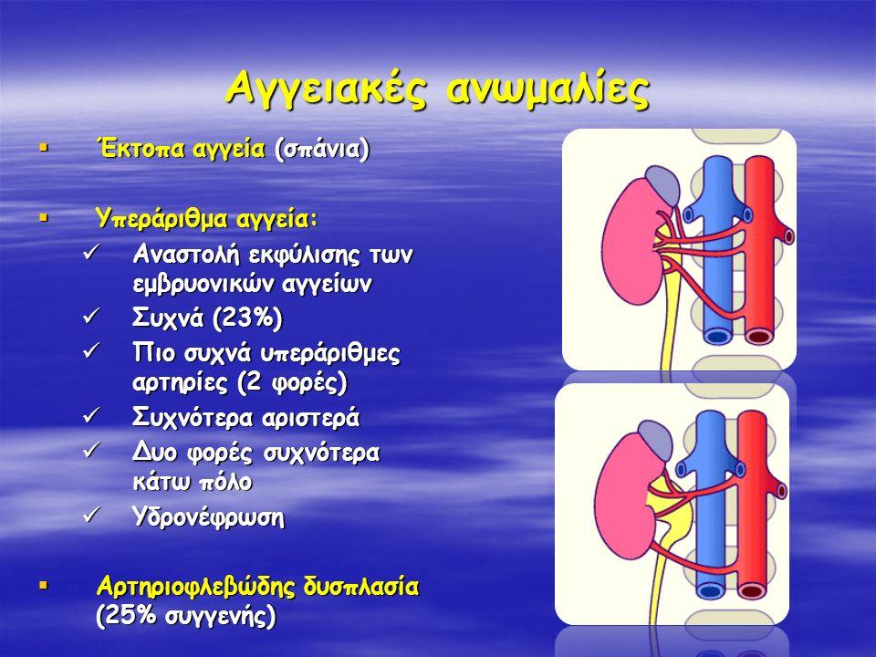 Αγγειακές ανωμαλίες Έκτοπα αγγεία (σπάνια) Υπεράριθμα αγγεία:
