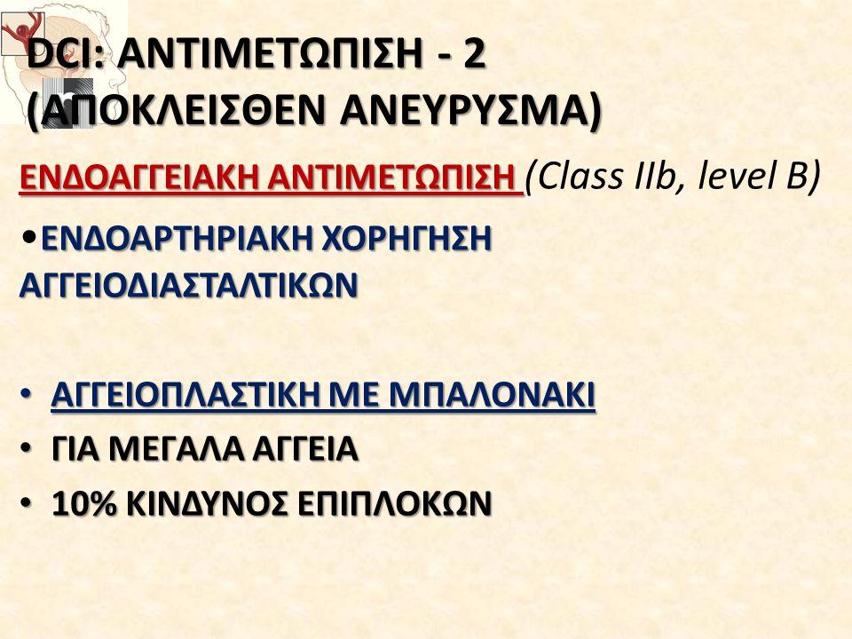 DCI: ΑΝΤΙΜΕΤΩΠΙΣΗ - 2 (ΑΠΟΚΛΕΙΣΘΕΝ ΑΝΕΥΡΥΣΜΑ)