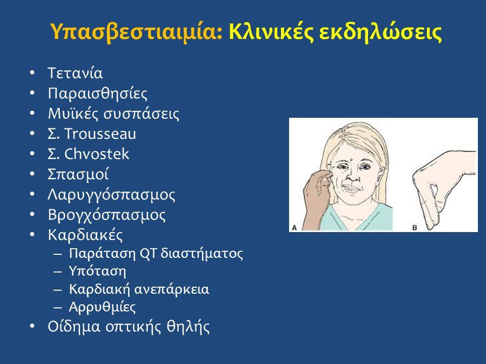 Υπασβεστιαιμία: Κλινικές εκδηλώσεις