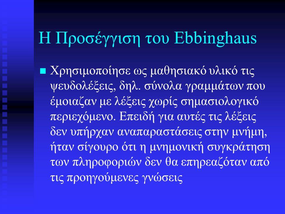 Η Προσέγγιση του Ebbinghaus