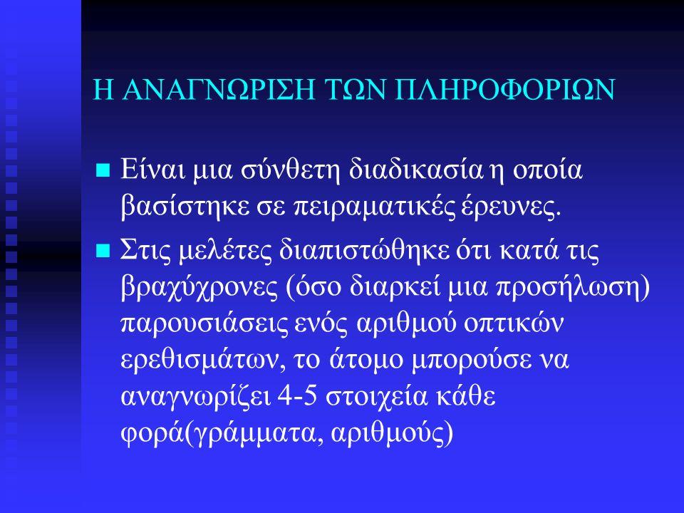 Η ΑΝΑΓΝΩΡΙΣΗ ΤΩΝ ΠΛΗΡΟΦΟΡΙΩΝ