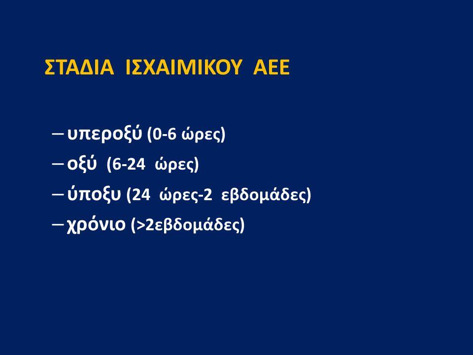 ΣΤΑΔΙΑ ΙΣΧΑΙΜΙΚΟΥ ΑΕΕ υπεροξύ (0-6 ώρες) οξύ (6-24 ώρες)