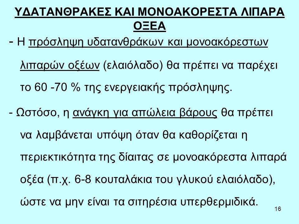 ΥΔΑΤΑΝΘΡΑΚΕΣ ΚΑΙ ΜΟΝΟΑΚΟΡΕΣΤΑ ΛΙΠΑΡΑ ΟΞΕΑ