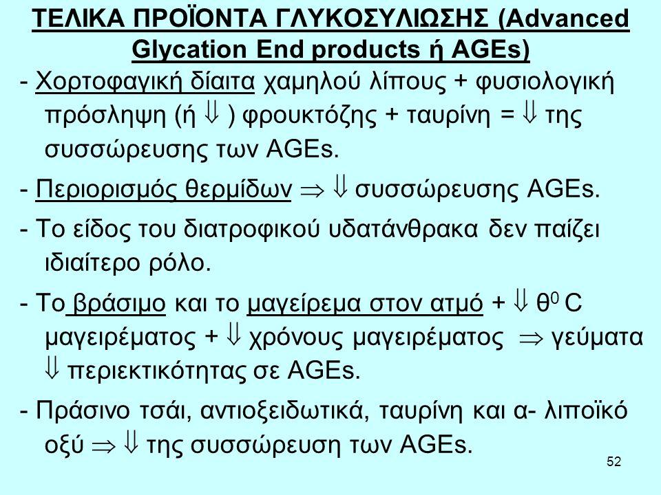 ΤΕΛΙΚΑ ΠΡΟΪΟΝΤΑ ΓΛΥΚΟΣΥΛΙΩΣΗΣ (Advanced Glycation End products ή AGEs)
