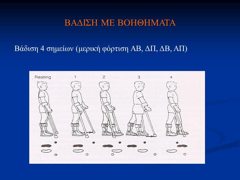 ΒΑΔΙΣΗ ΜΕ ΒΟΗΘΗΜΑΤΑ Βάδιση 4 σημείων (μερική φόρτιση ΑΒ, ΔΠ, ΔΒ, ΑΠ)