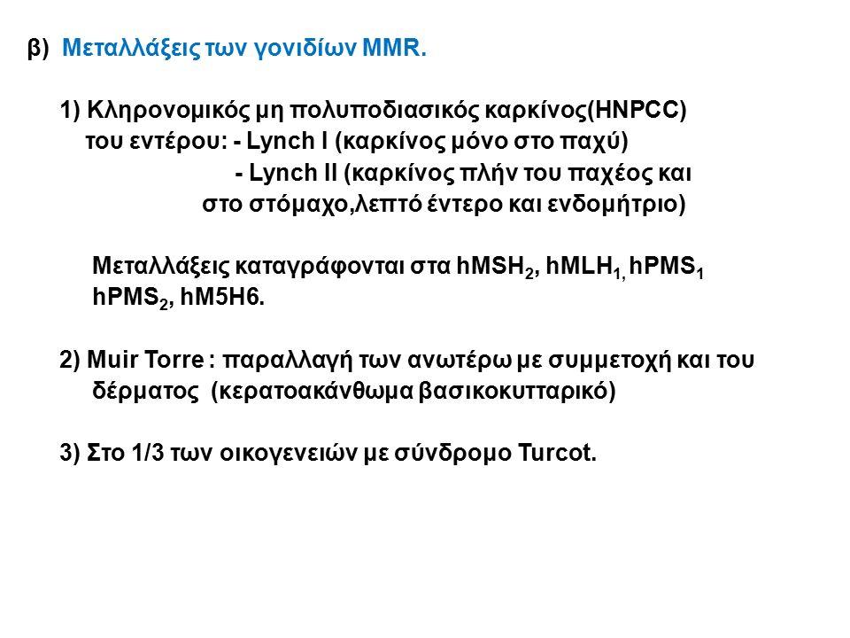 β) Μεταλλάξεις των γονιδίων MMR.