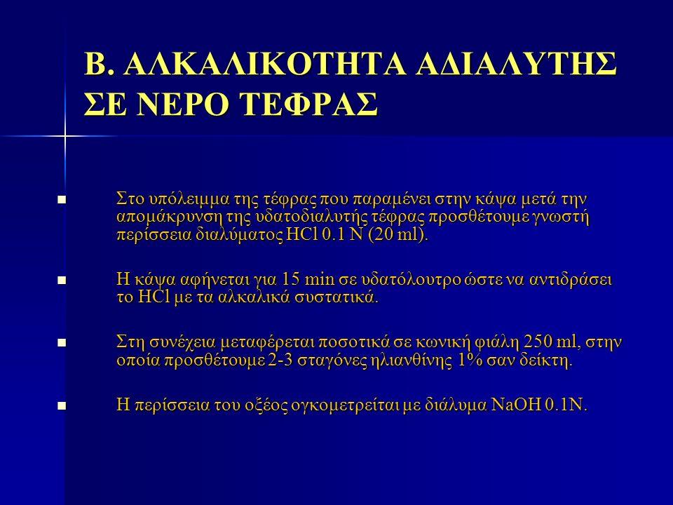 Β. ΑΛΚΑΛΙΚΟΤΗΤΑ ΑΔΙΑΛΥΤΗΣ ΣΕ ΝΕΡΟ ΤΕΦΡΑΣ