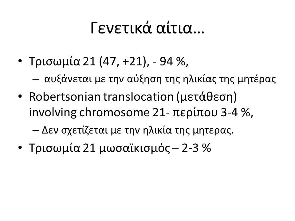 Γενετικά αίτια… Τρισωμία 21 (47, +21), - 94 %,