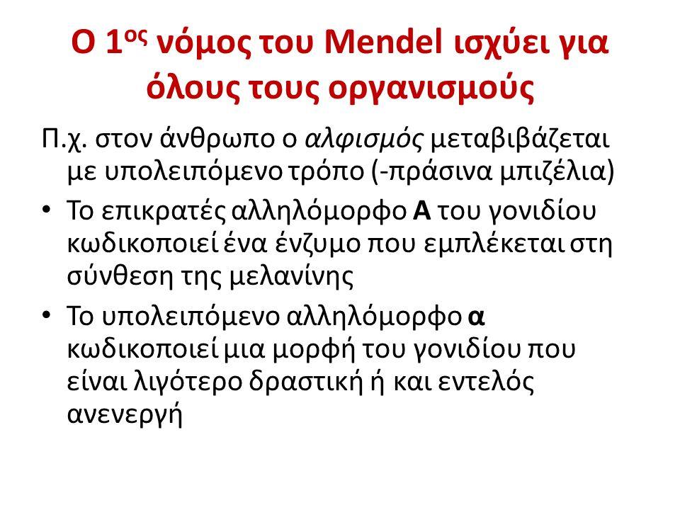 Ο 1ος νόμος του Mendel ισχύει για όλους τους οργανισμούς