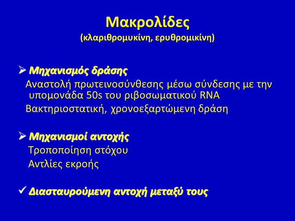 Μακρολίδες (κλαριθρομυκίνη, ερυθρομικίνη)