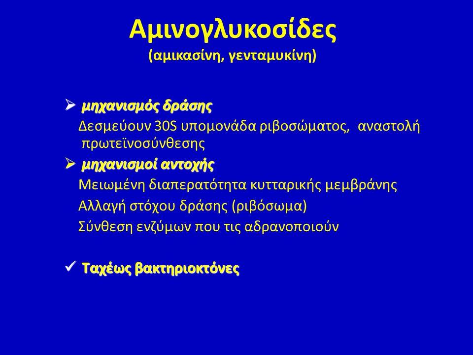 Αμινογλυκοσίδες (αμικασίνη, γενταμυκίνη)
