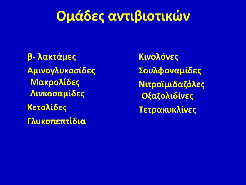 Ομάδες αντιβιοτικών β- λακτάμες