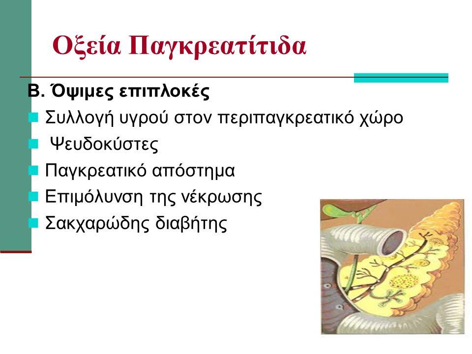 Οξεία Παγκρεατίτιδα Β. Όψιμες επιπλοκές