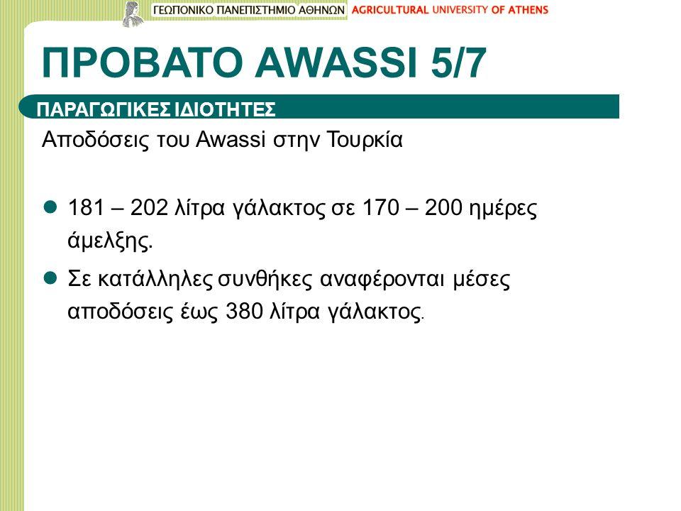 ΠΡΟΒΑΤΟ ΑWASSI 5/7 Αποδόσεις του Awassi στην Τουρκία