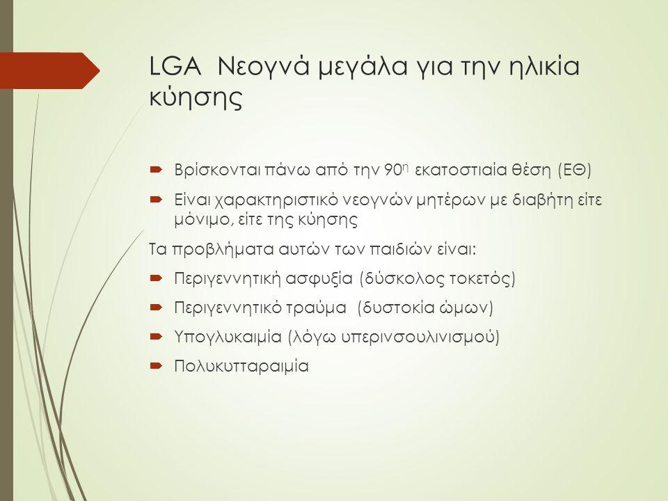 LGA Νεογνά μεγάλα για την ηλικία κύησης