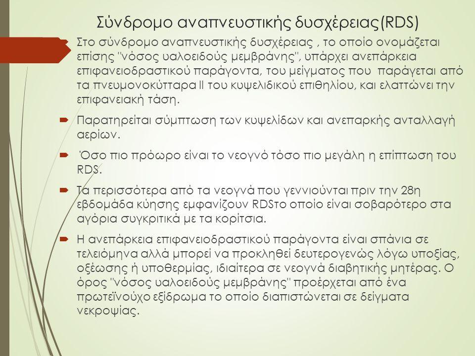 Σύνδρομο αναπνευστικής δυσχέρειας(RDS)