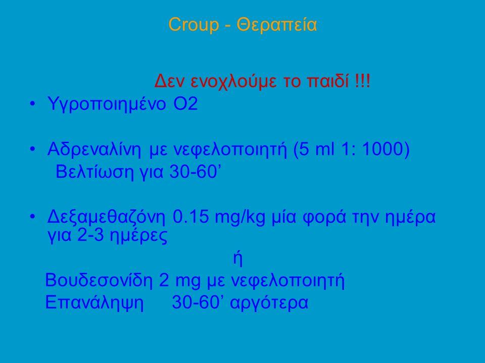 Croup - Θεραπεία Δεν ενοχλούμε το παιδί !!! Υγροποιημένο Ο2. Aδρεναλίνη με νεφελοποιητή (5 ml 1: 1000)