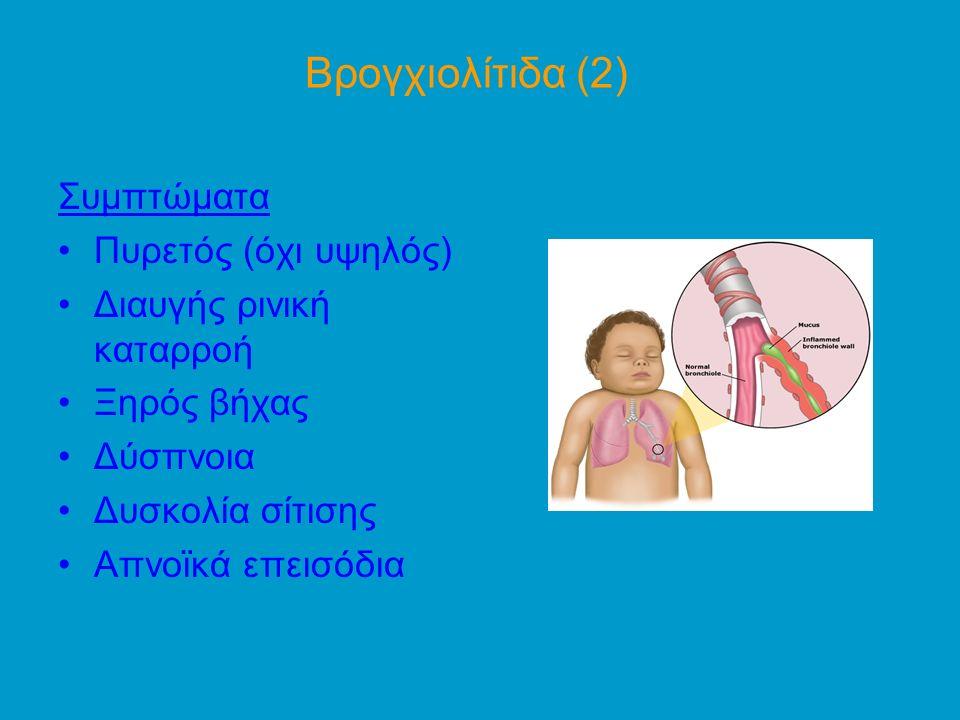 Βρογχιολίτιδα (2) Συμπτώματα Πυρετός (όχι υψηλός)
