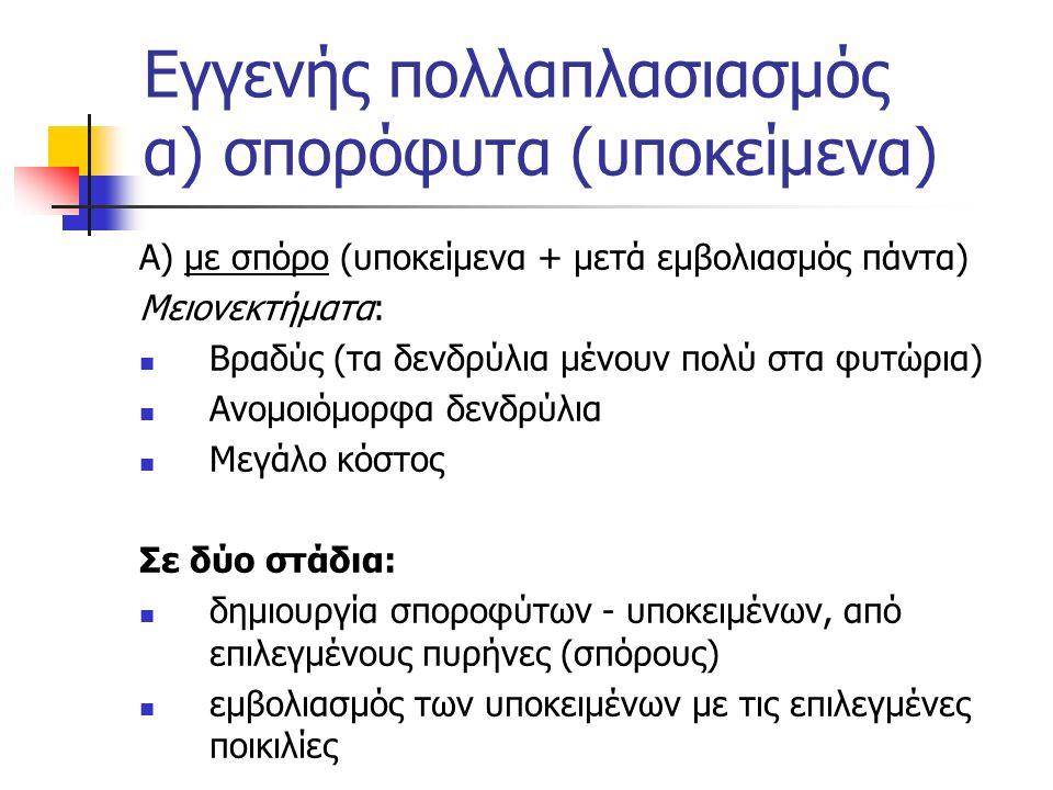 Εγγενής πολλαπλασιασμός α) σπορόφυτα (υποκείμενα)