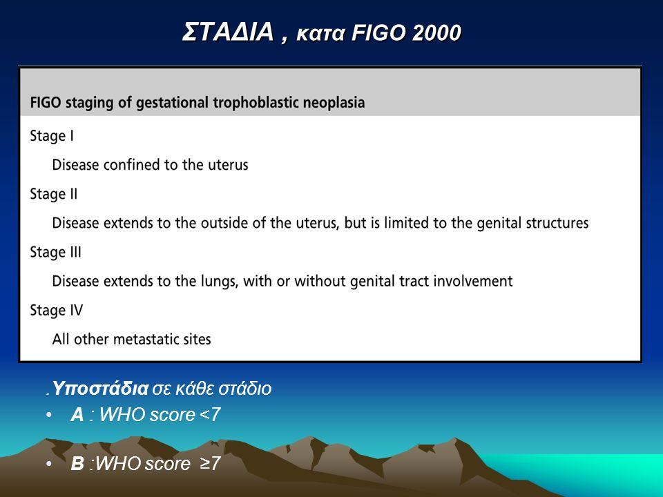 ΣΤΑΔΙΑ , κατα FIGO 2000 .Υποστάδια σε κάθε στάδιο Α : WHO score <7