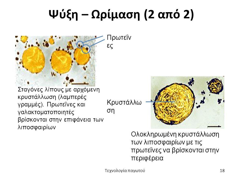 Ψύξη – Ωρίμαση (2 από 2) Πρωτεΐνες Κρυστάλλωση
