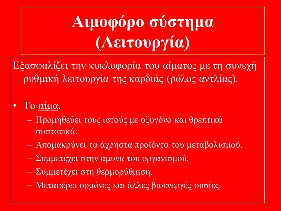 Αιμοφόρο σύστημα (Λειτουργία)