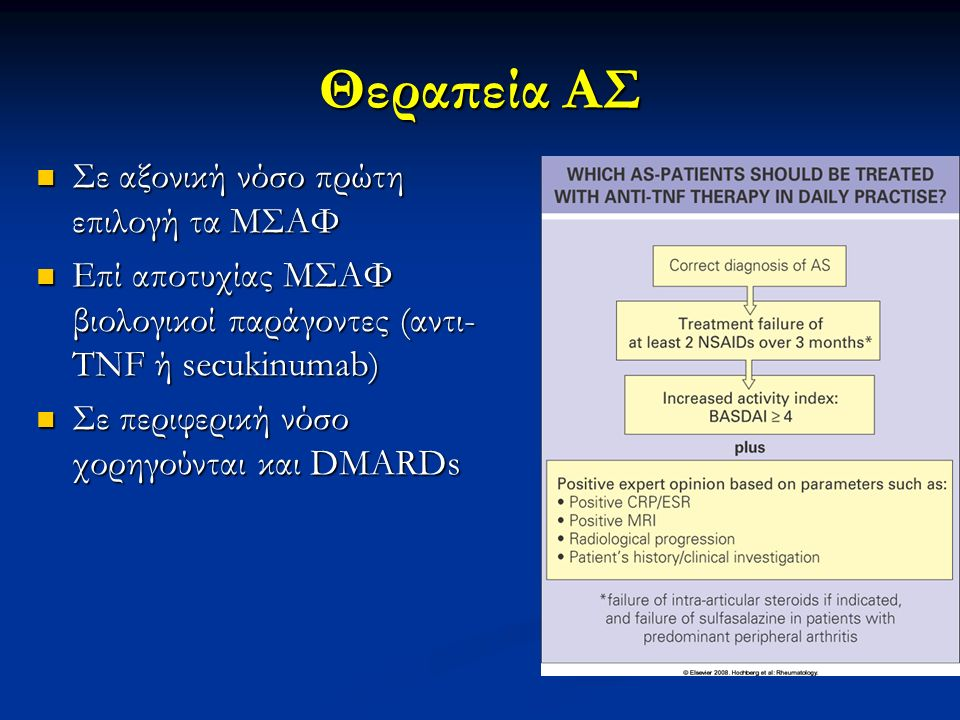 Θεραπεία ΑΣ Σε αξονική νόσο πρώτη επιλογή τα ΜΣΑΦ