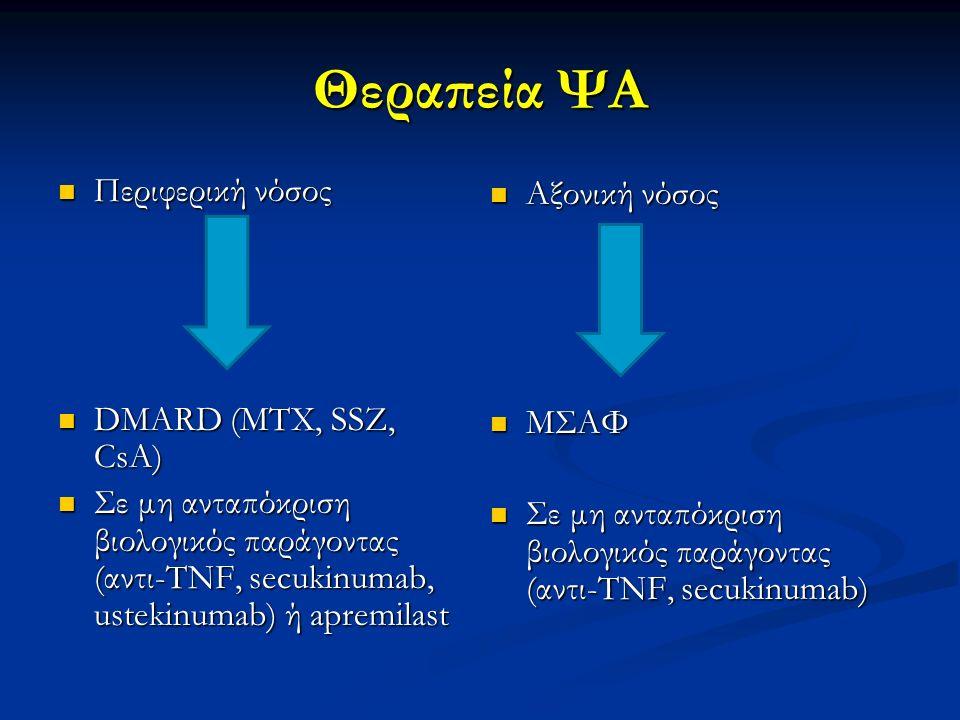 Θεραπεία ΨΑ Περιφερική νόσος Αξονική νόσος DMARD (MTX, SSZ, CsA) ΜΣΑΦ