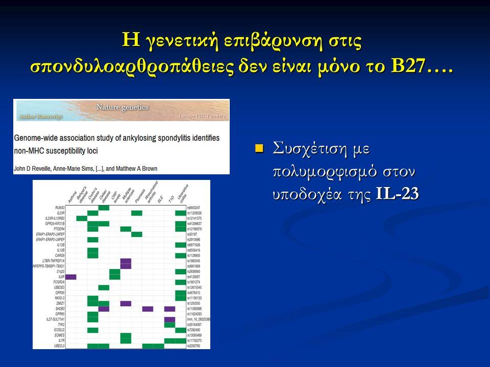 Η γενετική επιβάρυνση στις σπονδυλοαρθροπάθειες δεν είναι μόνο το Β27….