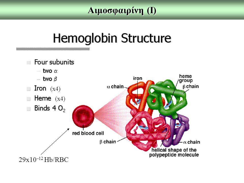 Αιμοσφαιρίνη (Ι) (x4) (x4) 29x10–12 Hb/RBC