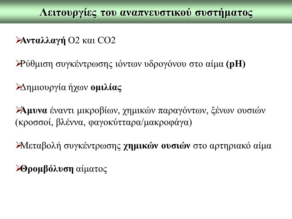 Λειτουργίες του αναπνευστικού συστήματος