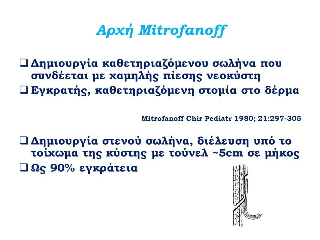 Αρχή Mitrofanoff Δημιουργία καθετηριαζόμενου σωλήνα που συνδέεται με χαμηλής πίεσης νεοκύστη. Εγκρατής, καθετηριαζόμενη στομία στο δέρμα.