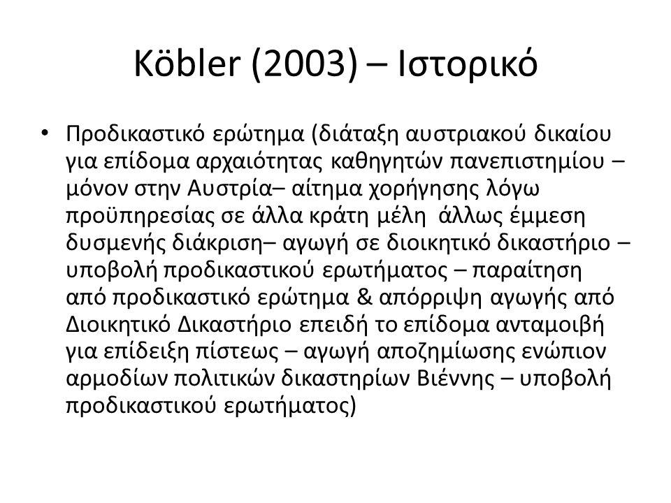 Köbler (2003) – Ιστορικό