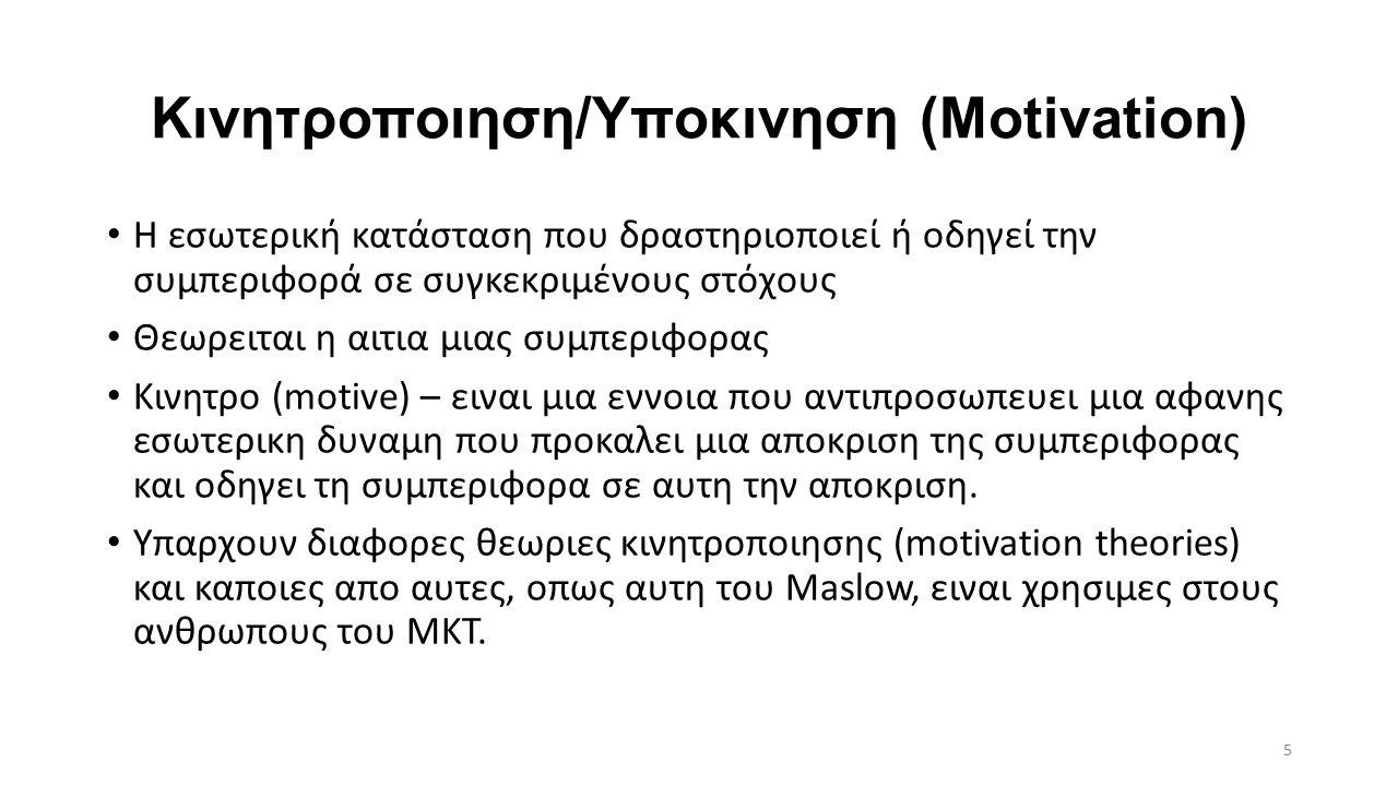 Κινητροποιηση/Υποκινηση (Motivation)