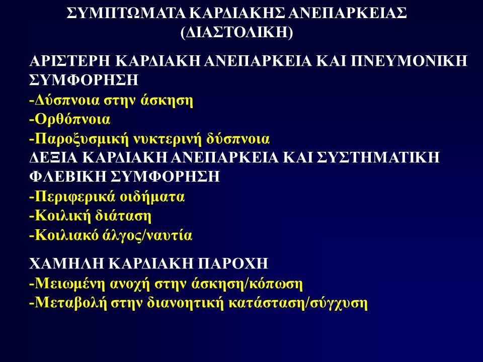 ΣΥΜΠΤΩΜΑΤΑ ΚΑΡΔΙΑΚΗΣ ΑΝΕΠΑΡΚΕΙΑΣ (ΔΙΑΣΤΟΛΙΚΗ)