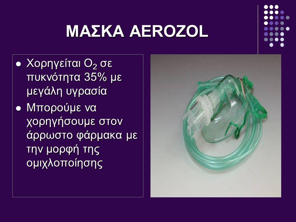 ΜΑΣΚΑ AEROZOL Χορηγείται Ο2 σε πυκνότητα 35% με μεγάλη υγρασία
