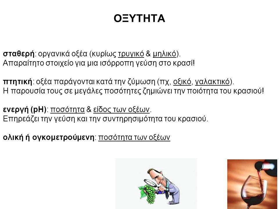 ΟΞΥΤΗΤΑ σταθερή: οργανικά οξέα (κυρίως τρυγικό & μηλικό).
