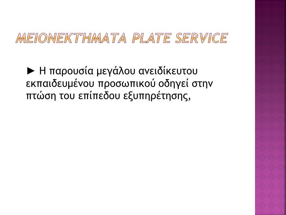 Μειονεκτήματα Plate Service