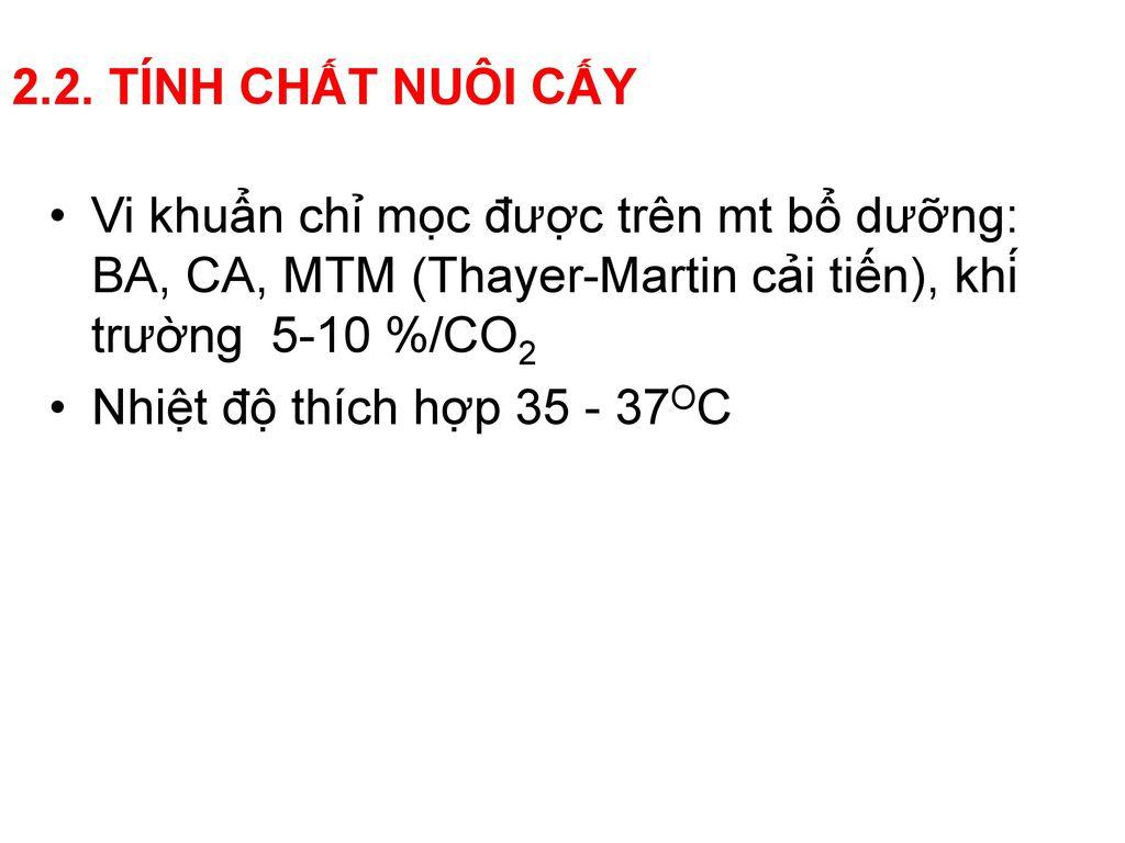 2.2. TÍNH CHẤT NUÔI CẤY Vi khuẩn chỉ mọc được trên mt bổ dưỡng: BA, CA, MTM (Thayer-Martin cải tiến), khí trường 5-10 %/CO2.