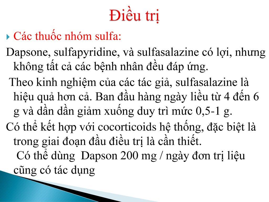 Điều trị Các thuốc nhóm sulfa: