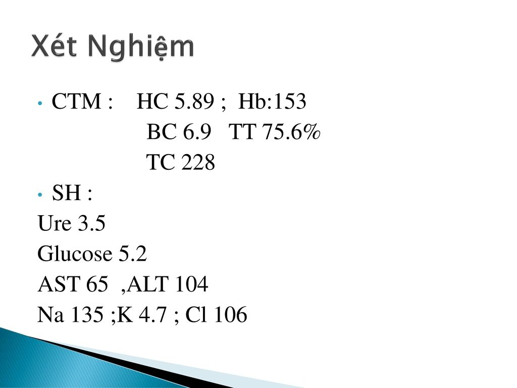 Xét Nghiệm CTM : HC 5.89 ; Hb:153 BC 6.9 TT 75.6% TC 228 SH : Ure 3.5