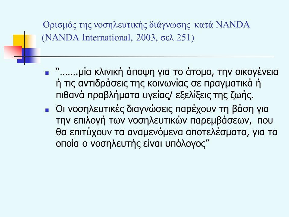 Ορισμός της νοσηλευτικής διάγνωσης κατά NANDA (NANDA Ιnternational, 2003, σελ 251)