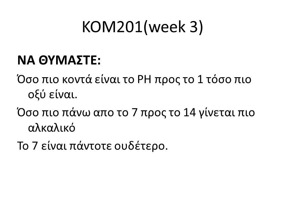 KOM201(week 3) ΝΑ ΘΥΜΑΣΤΕ: Όσο πιο κοντά είναι το ΡΗ προς το 1 τόσο πιο οξύ είναι. Όσο πιο πάνω απο το 7 προς το 14 γίνεται πιο αλκαλικό.
