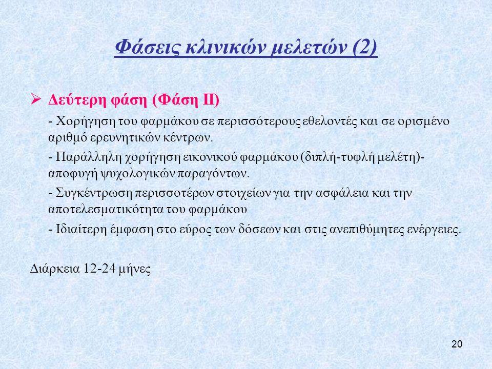Φάσεις κλινικών μελετών (2)