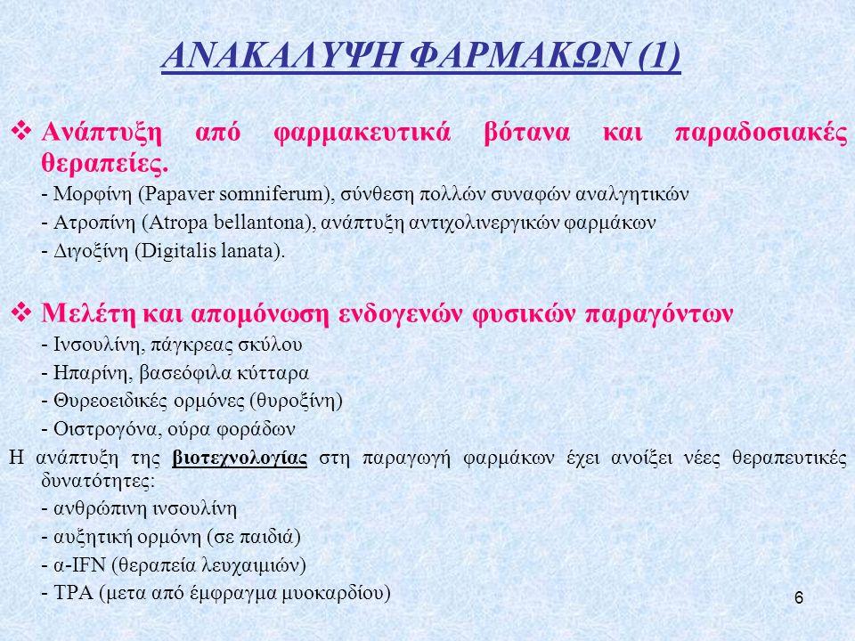 ΑΝΑΚΑΛΥΨΗ ΦΑΡΜΑΚΩΝ (1) Ανάπτυξη από φαρμακευτικά βότανα και παραδοσιακές θεραπείες.