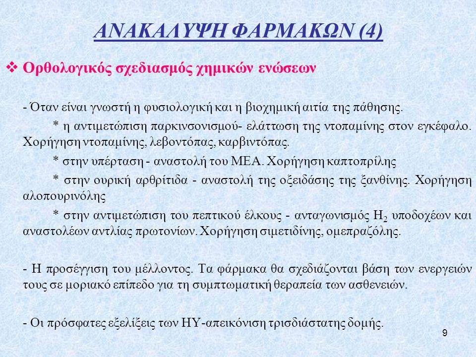 ΑΝΑΚΑΛΥΨΗ ΦΑΡΜΑΚΩΝ (4) Ορθολογικός σχεδιασμός χημικών ενώσεων