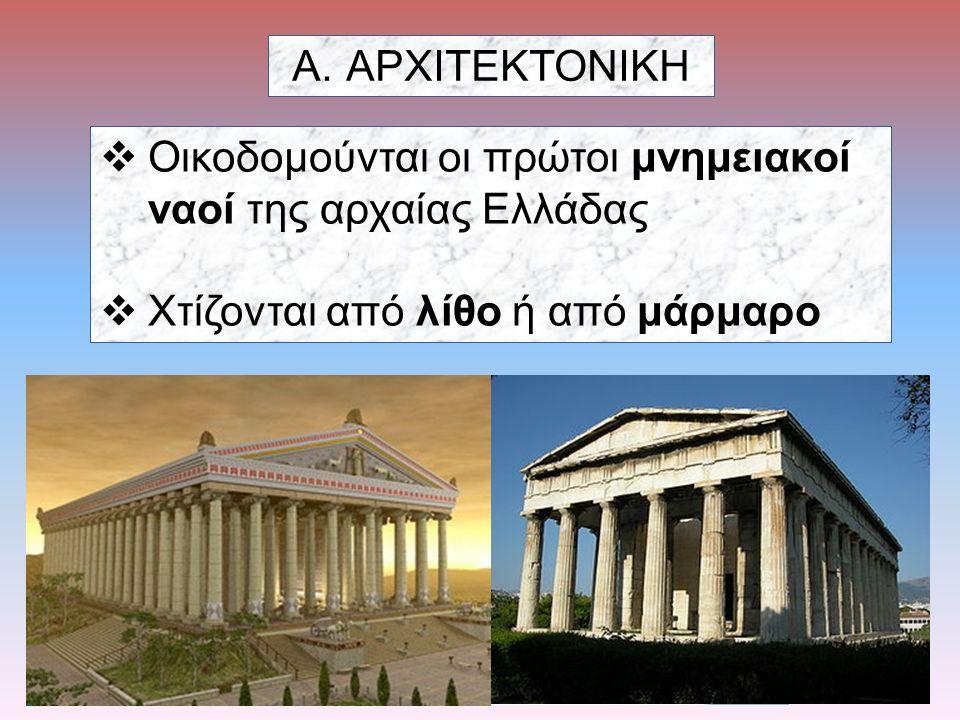 ΑΡΧΙΤΕΚΤΟΝΙΚΗ Οικοδομούνται οι πρώτοι μνημειακοί ναοί της αρχαίας Ελλάδας.