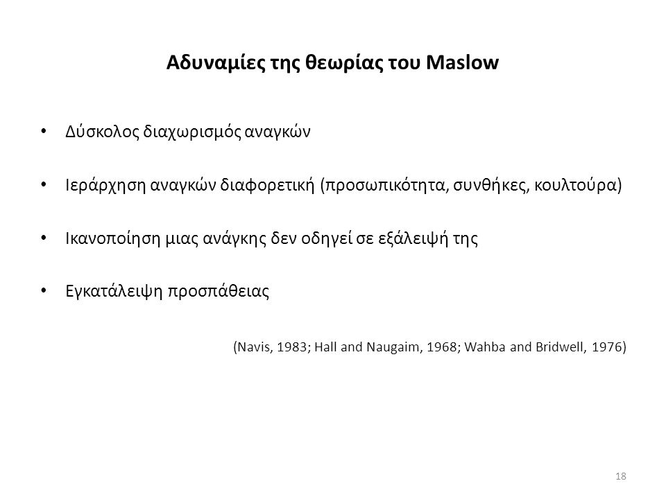 Αδυναμίες της θεωρίας του Maslow