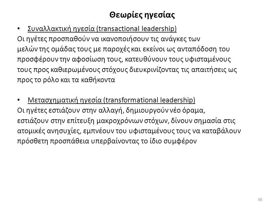 Θεωρίες ηγεσίας Συναλλακτική ηγεσία (transactional leadership)